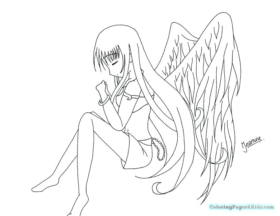 900x695 Best Of Anime Coloring Pages Pictures Angel Anime Girl Coloring