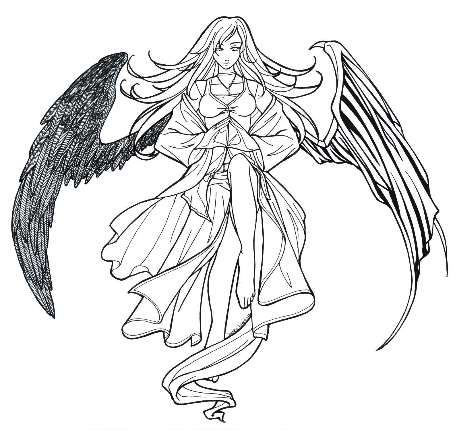 Angel Anime Drawing at GetDrawings.com | Free for personal use Angel ...