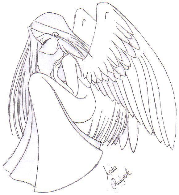 580x630 Sad Angel Line Art By Dutch Flower