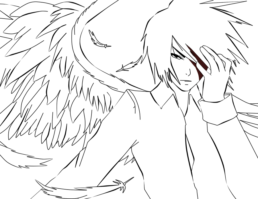 900x695 White Anime Angel Lineart By Thebl