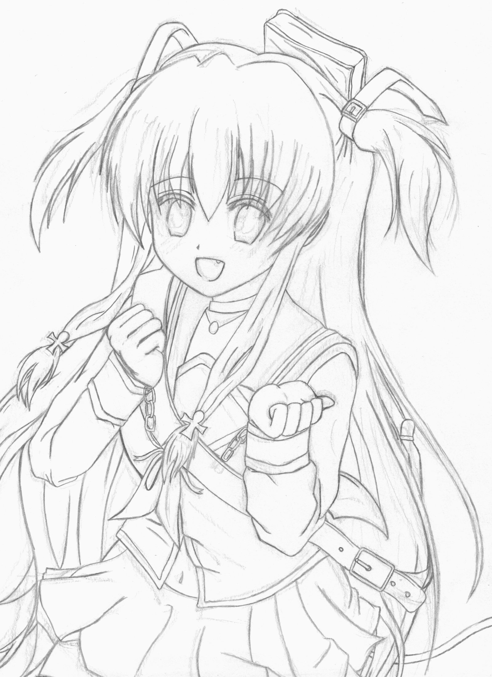 1600x2201 Yui From Angel Beats! (Pencil Line Art) By Stesto20