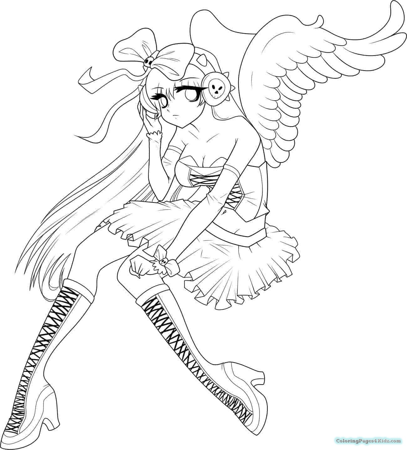 1300x1436 Angel And Devil Anime Coloring Pages Coloring Pages For Kids