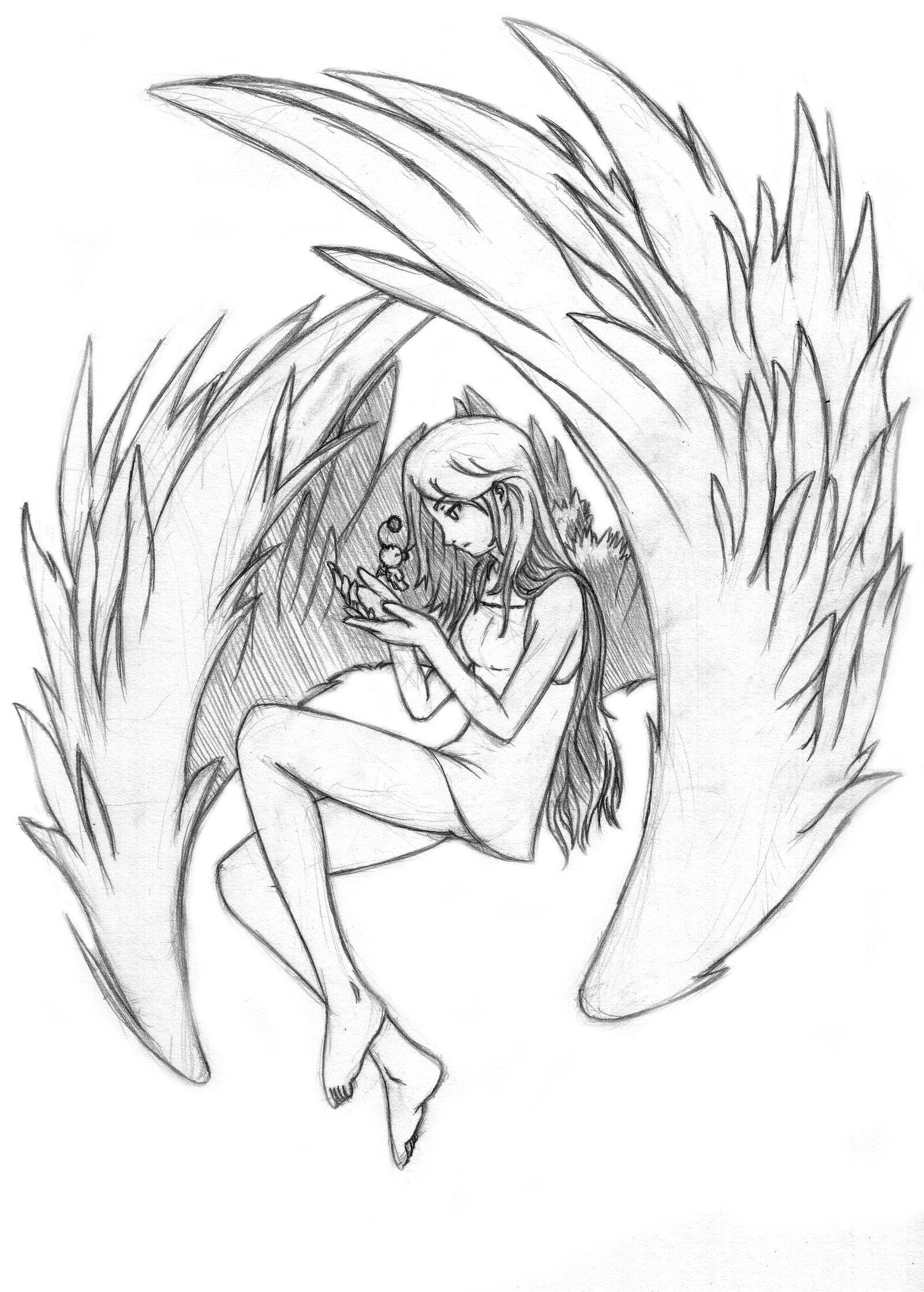 1600x2237 Angel Anime Drawing