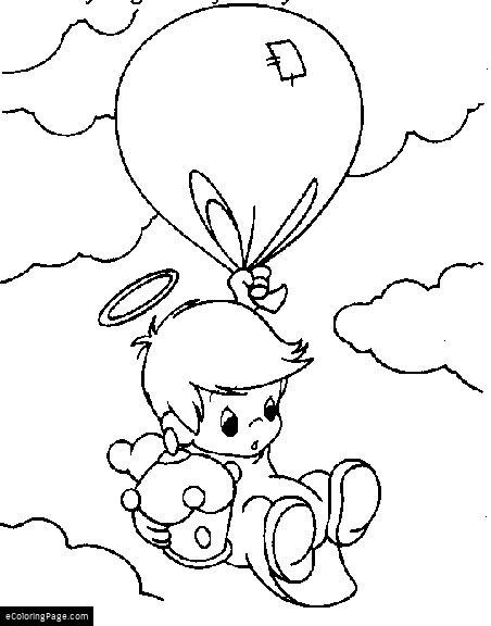 452x576 Baby Boy Angel Flying With A Balloon Coloring Page For Kids