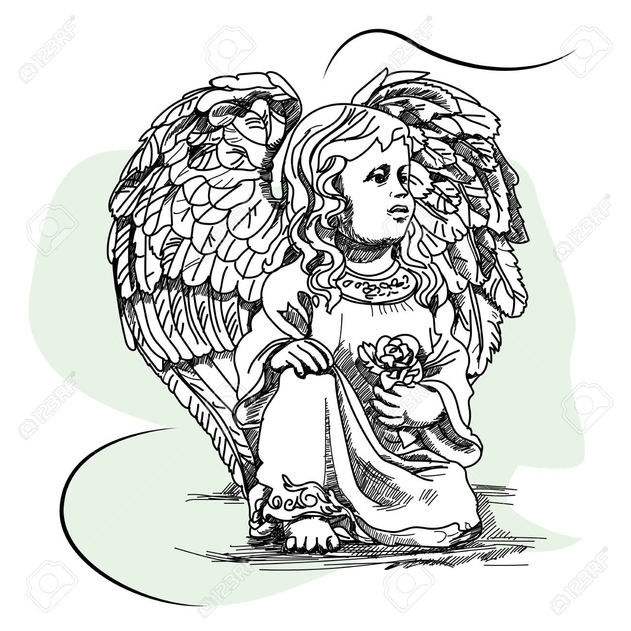 1300x1300 Sketch Drawing Of A Baby Angel Royalty Free Cliparts, Vectors,