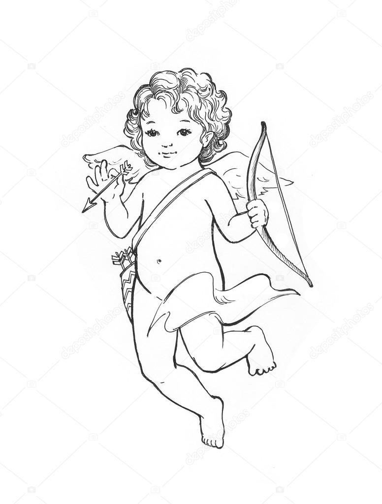 776x1024 Angel Baby Sketch Stock Photo Elightshow