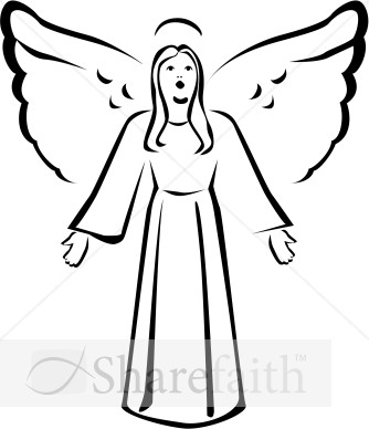 334x388 Black Angels Art Black And White Singing Angel Clipart Angel
