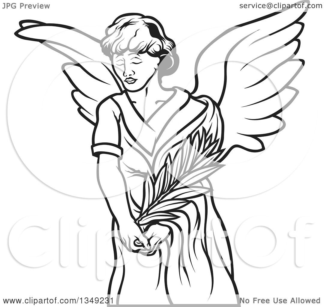 1080x1024 Clipart Of A Black And White Female Angel Holding A Branch