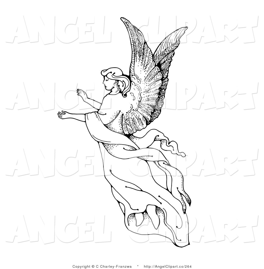 1024x1044 Free Angel Clipart Black And White