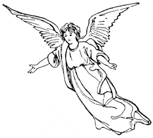 500x451 Guardian Angel Clipart Black And White
