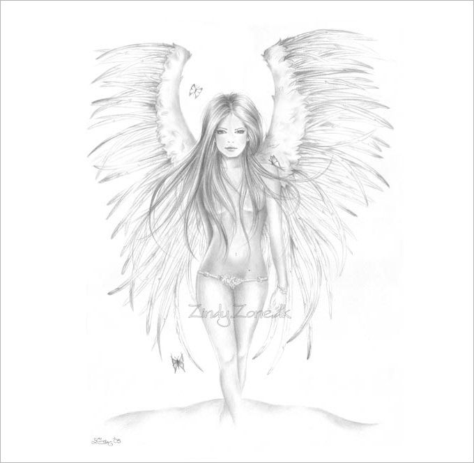 680x664 Pictures Angel Sketches Black White,