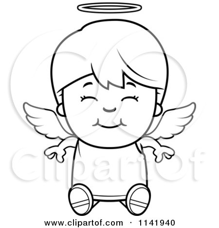 450x470 Cartoon Clipart Of A Black And White Smiling Sitting Angel Boy