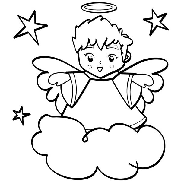 600x600 Angels, Cute Angels Boy Wiht Halo Coloring Page Lineart
