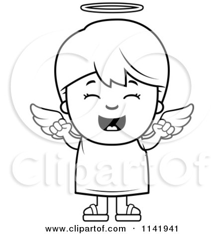 450x470 Cartoon Clipart Of A Black And White Happy Angel Boy