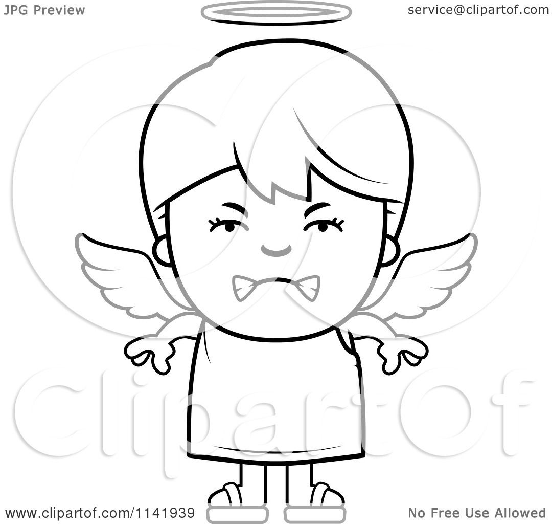 1080x1024 Cartoon Clipart Of A Black And White Mean Angel Boy