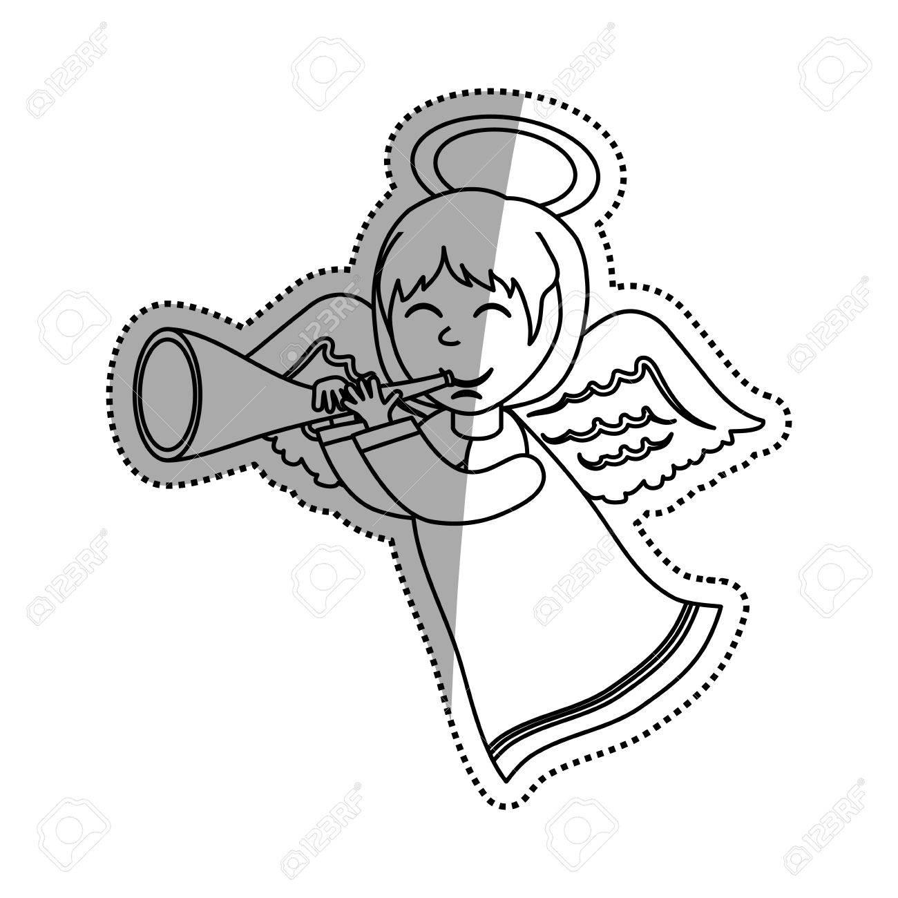 1300x1300 Cute Angel Cartoon Icon Vector Illustration Graphic Design Royalty