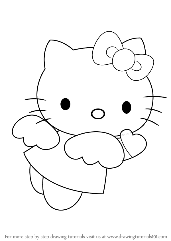 600x846 Learn How To Draw Hello Kitty Angel (Hello Kitty) Step By Step