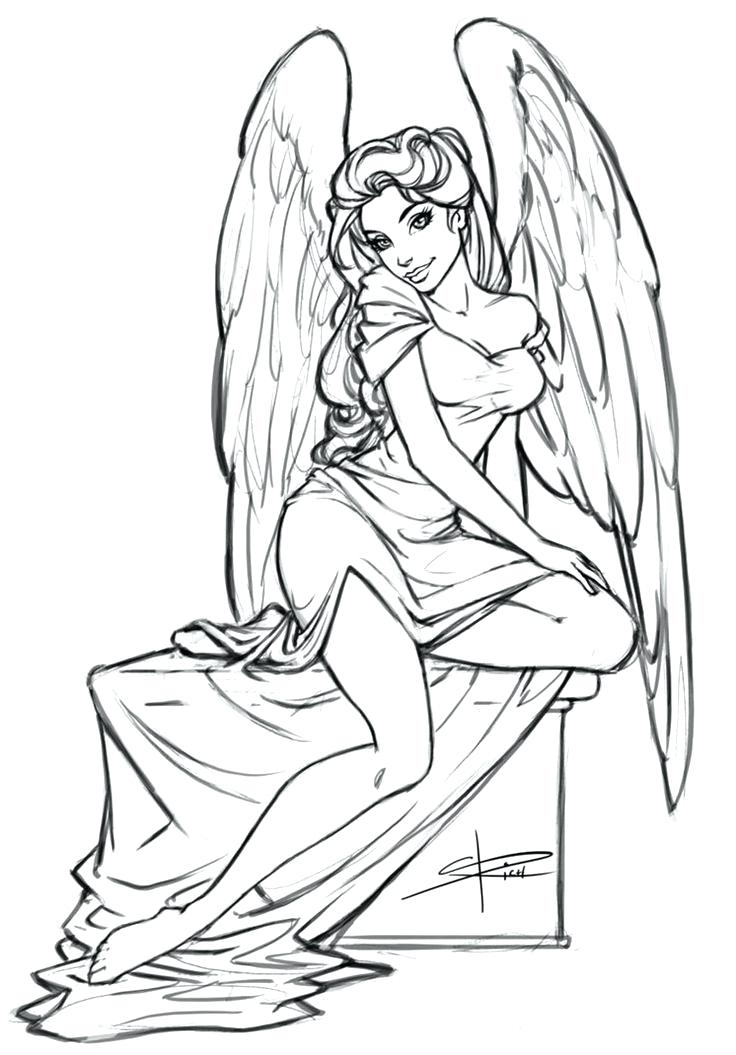 736x1055 Amazing Angel Coloring Pages Kids Cute Cartoon Nice Girl