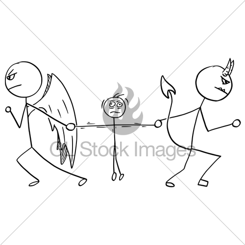 500x500 Vector Cartoon Of Angel And Devil Fighting Wrestling For Man Gl