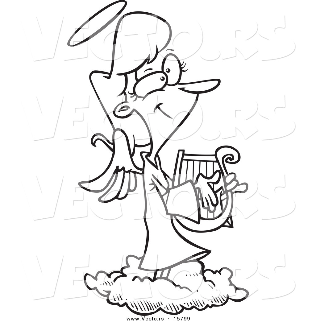 1024x1044 Vector Of A Cartoon Female Angel Playing A Lyre