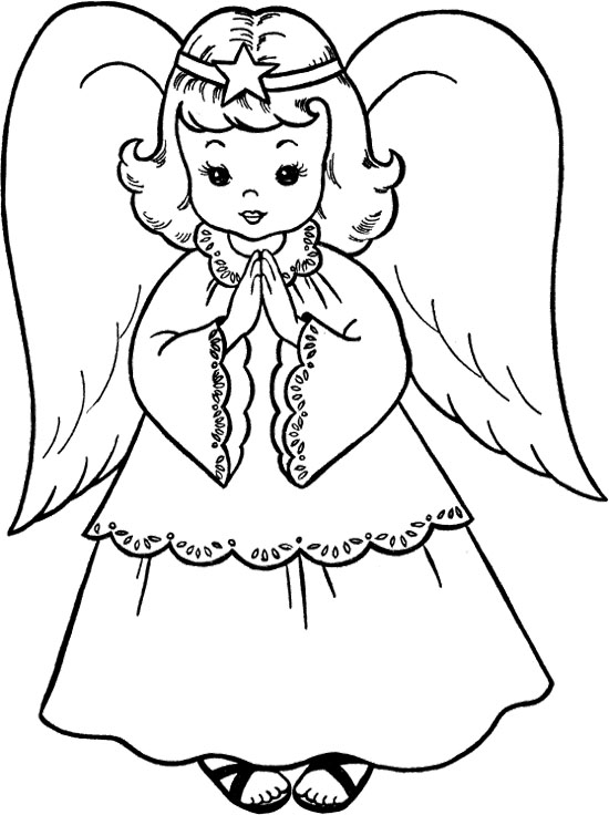 550x736 Angel Coloring Pages For Kids Printable In Fancy Draw Image