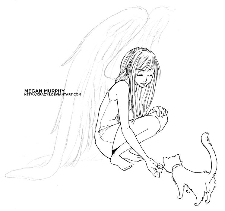 746x700 Anime Angel Girl Feeding A Cat By Mechaberry