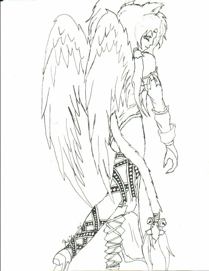 848x1096 Cat Girl Angel Lineart By Lo Wang