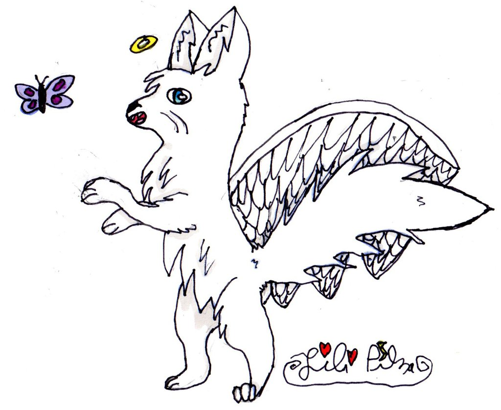 1024x838 Old Drawing] Angel Cat. By Lili Pika