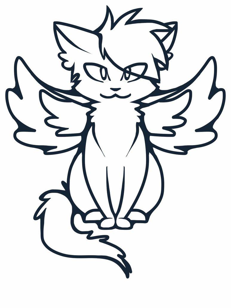 774x1032 Shadow Angel (Winged Cat) Base By Valerieofdoom