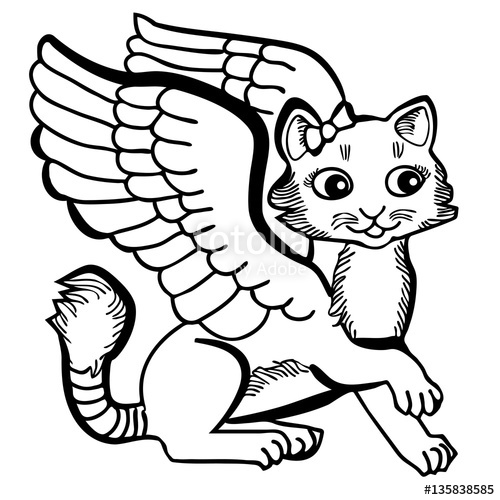 500x500 Vector Illustration Of Cute Angel Cat Black And White Stock Image