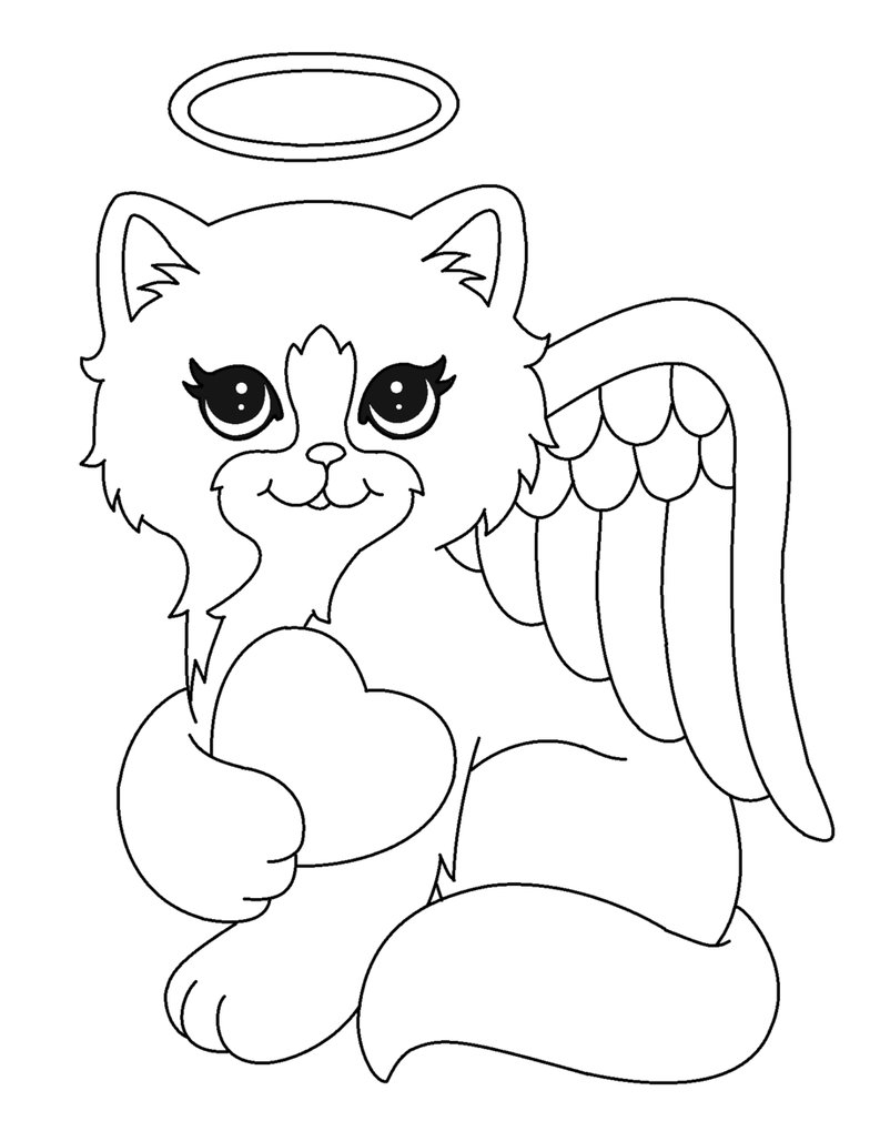 784x1019 Angel Kitty Lineart2 By Michy123