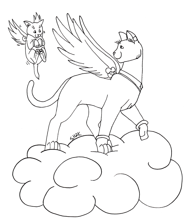 641x755 Angel Cat Lineart By Sailorharmony2000