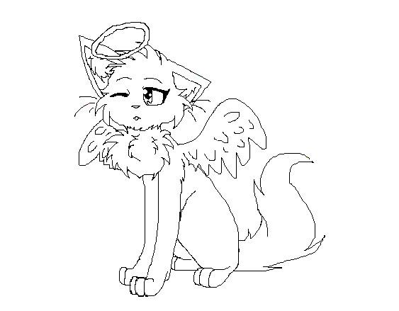 563x439 Angel Cat Lineart. By Silvercress221