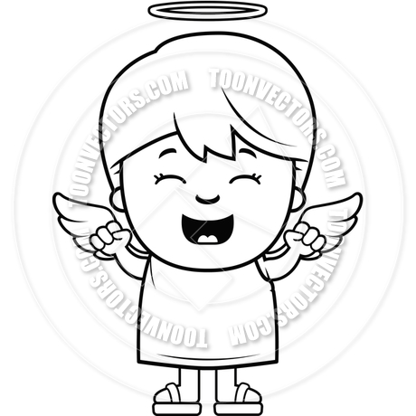 460x460 Child Angel Excited (Black And White Line Art) By Cory Thoman