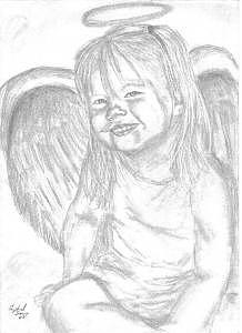 218x300 Little Angel Drawing By Crystal Sons