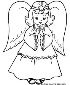 236x288 Christmas Angels Coloring Page Print Out For Kids Pages