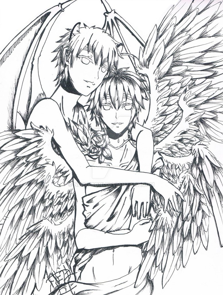 Angel Devil Drawing