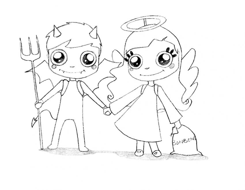 850x660 Angel And Devil Couple Coloring Pages