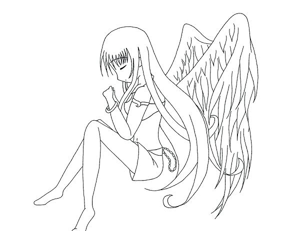 600x463 Anime Angel Coloring Pages Anime Coloring Sheets Anime Angel