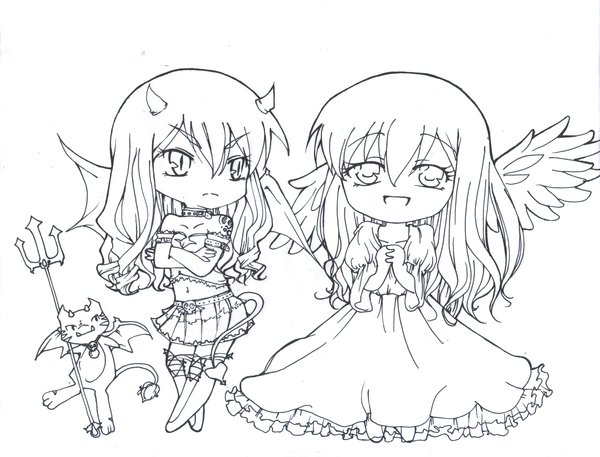 600x457 Twin Chibi Devil And An Angel By Myleo Gals Devil
