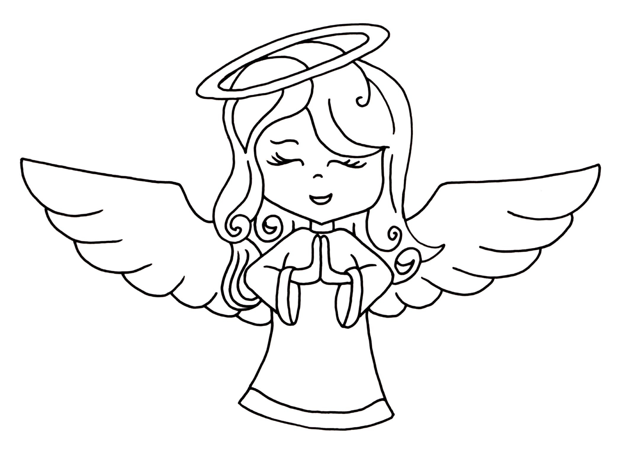 2098x1542 Angel Line Drawing Clip Art