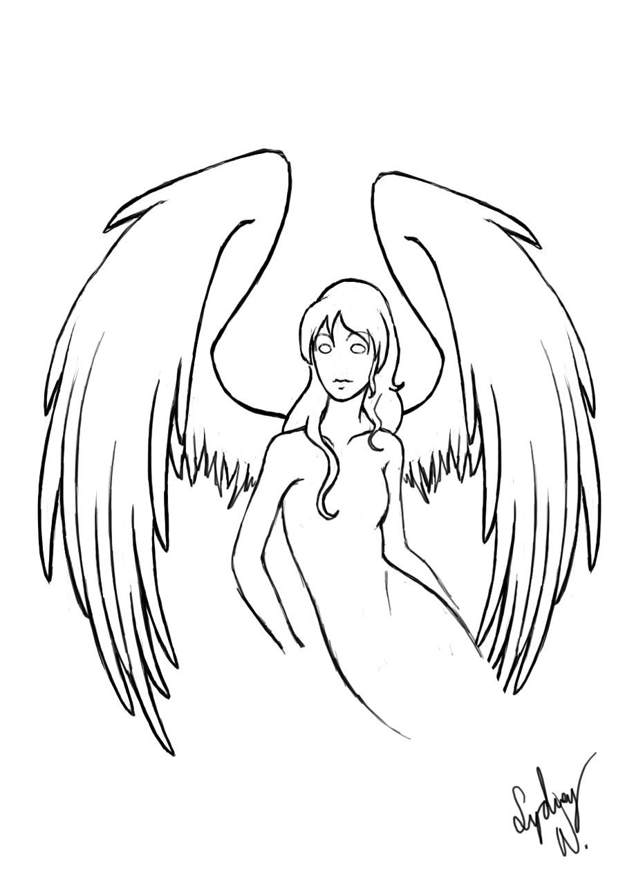 917x1271 Quick Angel Drawing By Selladorra