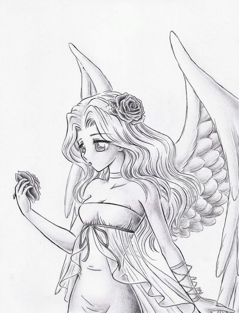 783x1024 Anime Angel Drawing Anime Angel Drawings