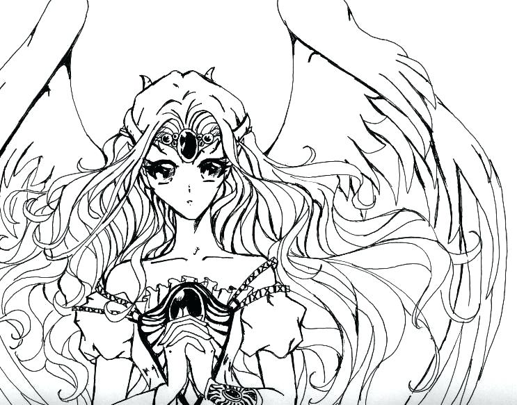 743x583 Anime Color Pages Anime Coloring Pages Fallen Angel Anime Coloring