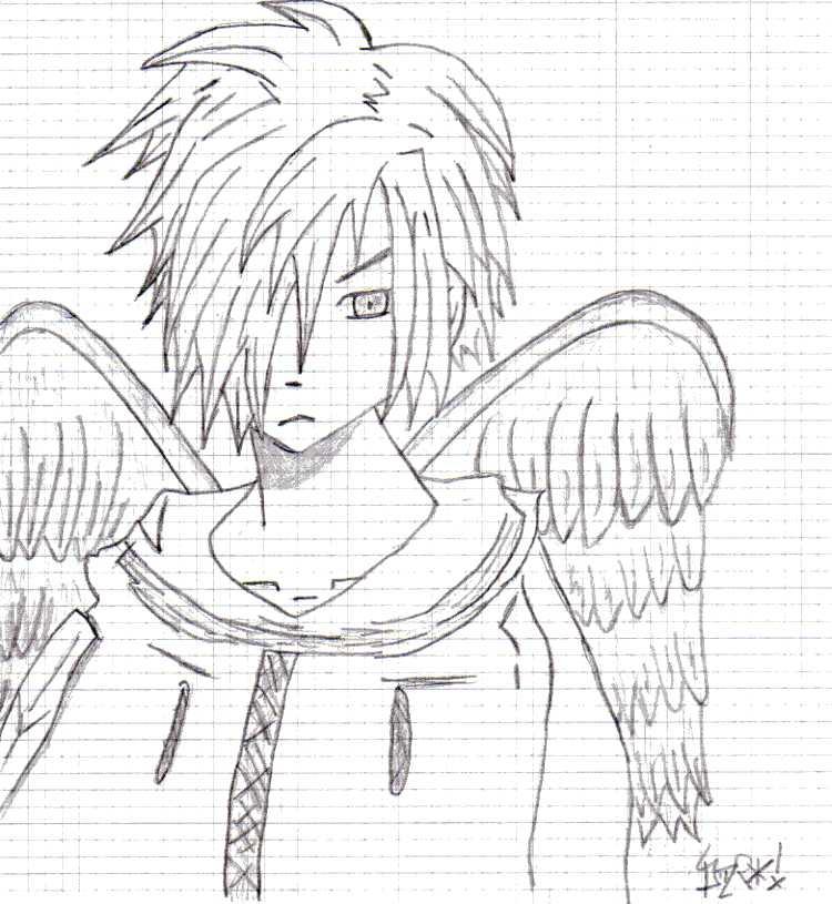 750x815 Manga Char With Angel Wings By Vivithedark