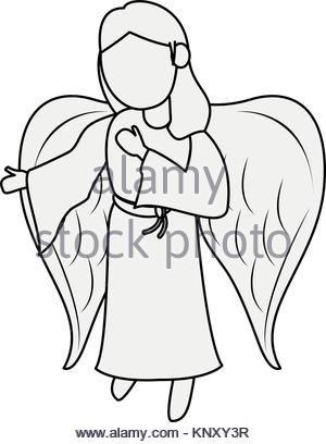 300x408 A Cartoon Illustration Of A Baby Angel With Wings And A Halo Stock