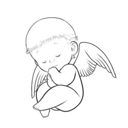 250x250 Baby Angel Drawing, Pencil, Sketch, Colorful, Realistic Art Images