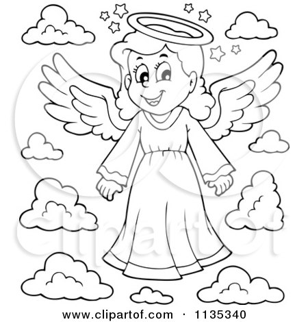 450x470 Cartoon Of An Outlined Girl Angel And Clouds