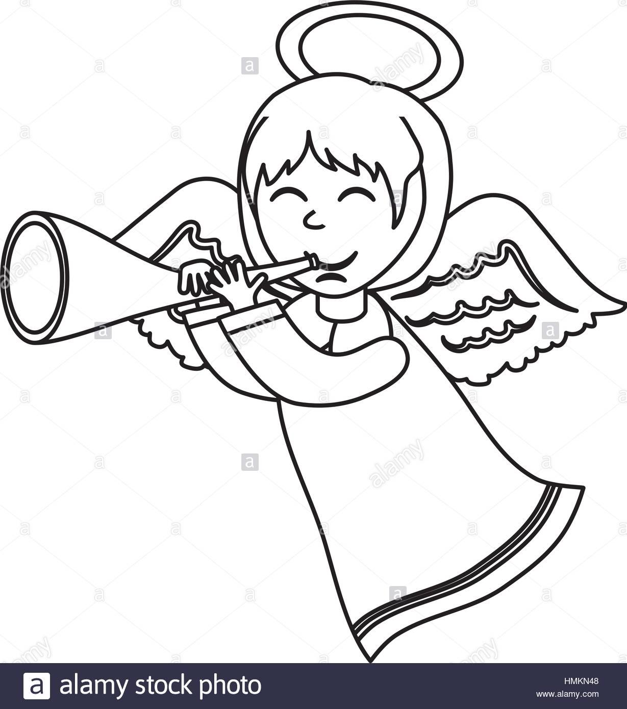 1229x1390 Cute Angel Cartoon Icon Vector Illustration Graphic Design Stock
