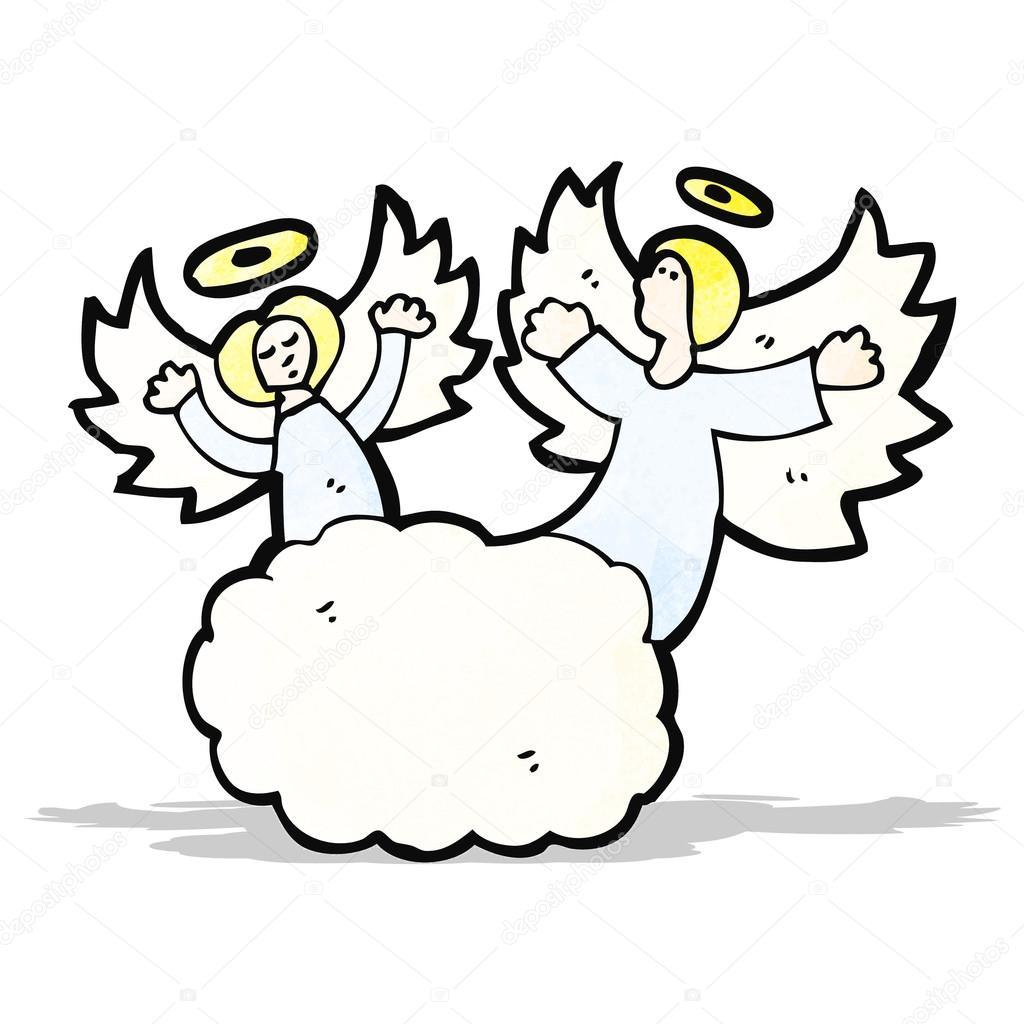 1024x1024 Cartoon Angels In Heaven Stock Vector Lineartestpilot